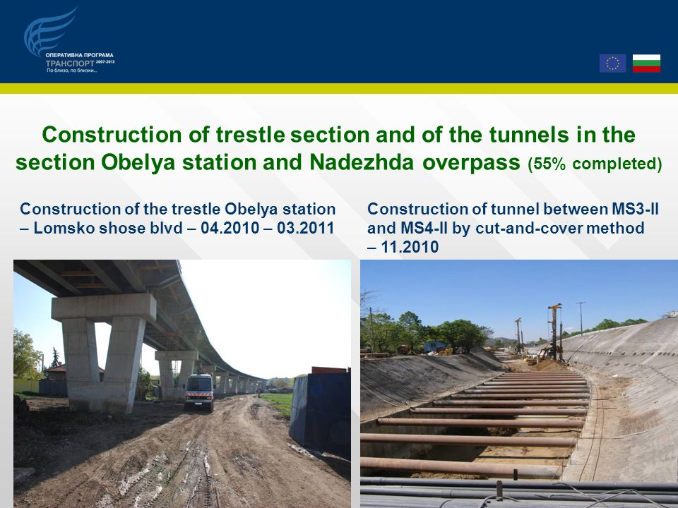 Construction of trestle section and of the tunnels in the section Obelya station and Nadezhda overpass (55% completed) Construction of the trestle Obelya station – Lomsko shose blvd – 04.2010 – 03.2011 Construction of tunnel between МS3-II and МS4-II by cut-and-cover method – 11.2010