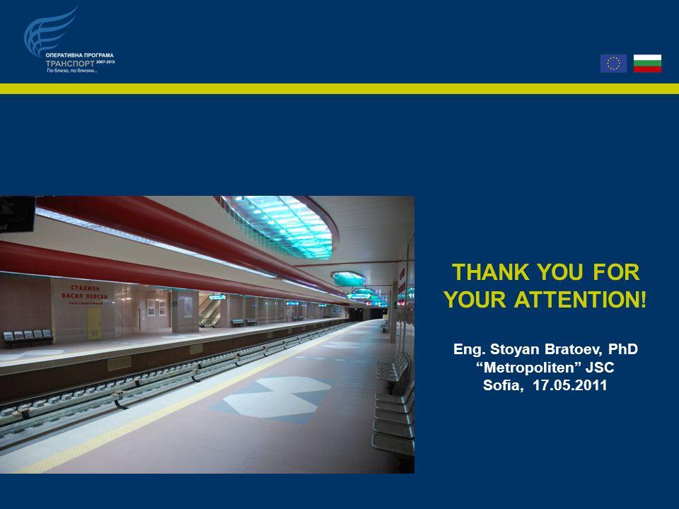 THANK YOU FOR YOUR ATTENTION! Eng. Stoyan Bratoev, PhD Metropoliten JSC Sofia, 17.05.2011
