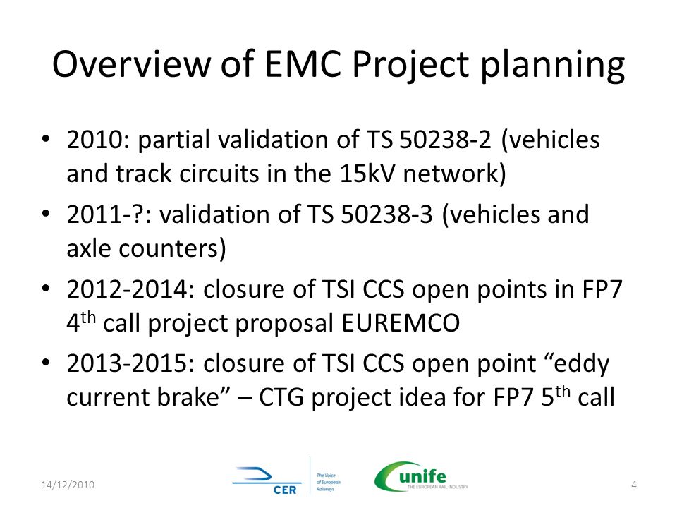 Overview of EMC Project planning 2010: partial validation of TS 50238-2 (vehicles and track circuits in the 15kV network) 2011-?: validation of TS 502