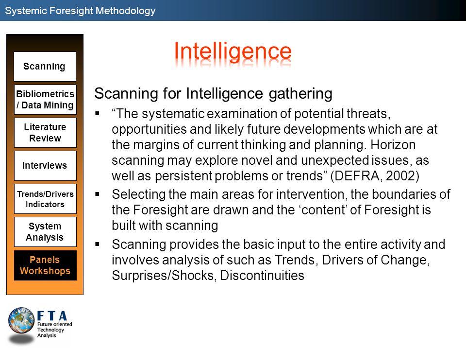Scanning Panels Workshops Bibliometrics / Data Mining Literature Review Interviews System Analysis Trends/Drivers Indicators Scanning for Intelligence