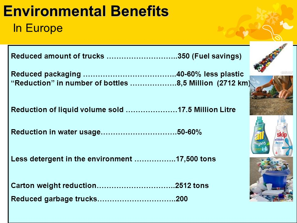 Environmental Benefits Reduced amount of trucks ………………………..350 (Fuel savings) Reduced packaging ……………………………… % less plastic Reduction in number of bottles ……………….8,5 Million (2712 km) Reduction of liquid volume sold …………………17.5 Million Litre Reduction in water usage………………………….50-60% Less detergent in the environment ……………..17,500 tons Carton weight reduction………………………… tons Reduced garbage trucks…………………………..200 In Europe