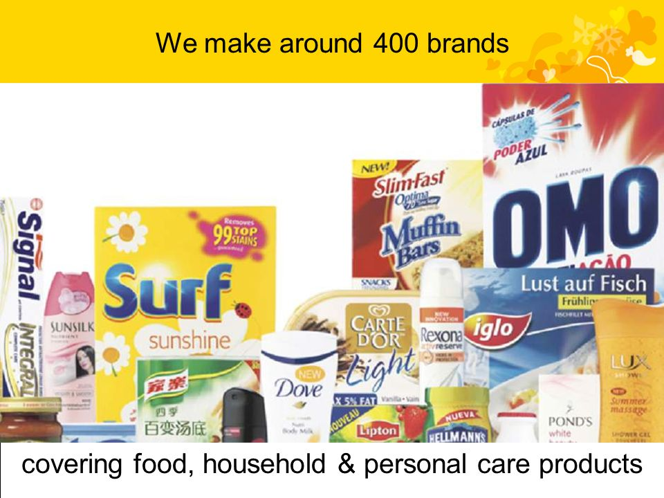We make around 400 brands covering food, household & personal care products