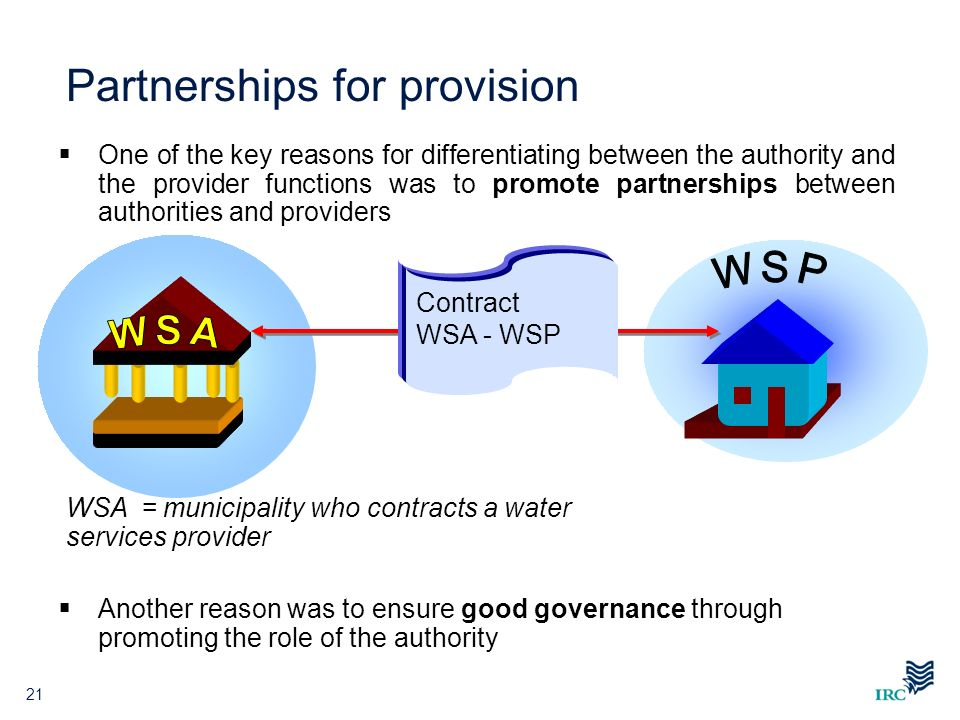 21 Partnerships for provision One of the key reasons for differentiating between the authority and the provider functions was to promote partnerships