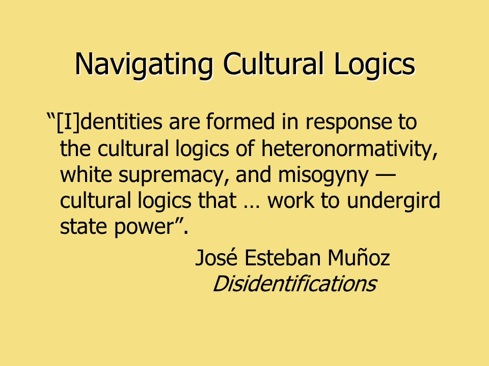 [I]dentities are formed in response to the cultural logics of heteronormativity, white supremacy, and misogyny cultural logics that … work to undergird state power.