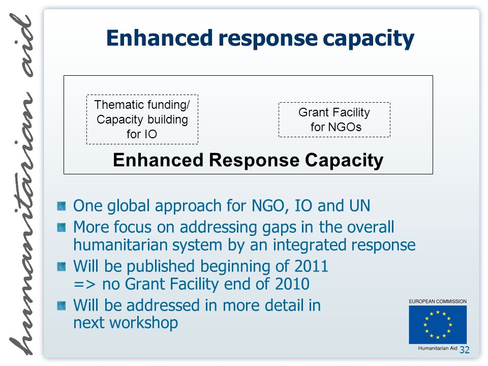 32 Enhanced response capacity One global approach for NGO, IO and UN More focus on addressing gaps in the overall humanitarian system by an integrated response Will be published beginning of 2011 => no Grant Facility end of 2010 Will be addressed in more detail in next workshop Thematic funding/ Capacity building for IO Grant Facility for NGOs Enhanced Response Capacity
