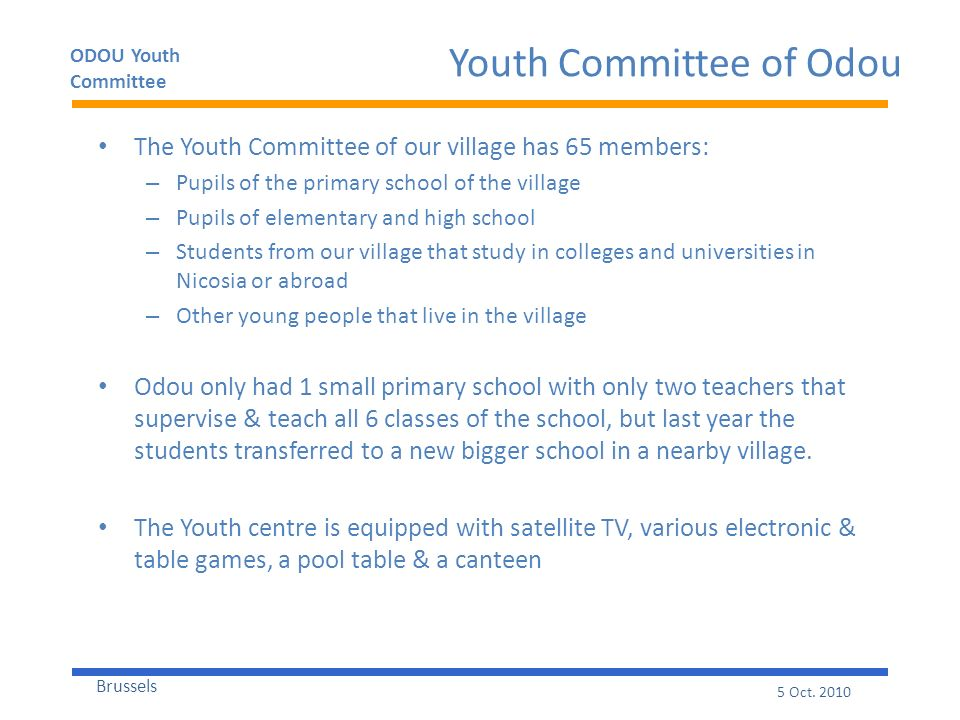ODOU Youth Committee Brussels 5 Oct.