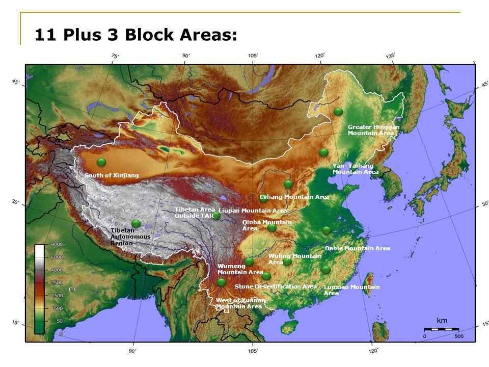 Tibetan Area Outside TAR Qinba Mountain Area Wuling Mountain Area 11 Plus 3 Block Areas: 16.02.2014 South of Xinjiang Tibetan Autonomous Region West o