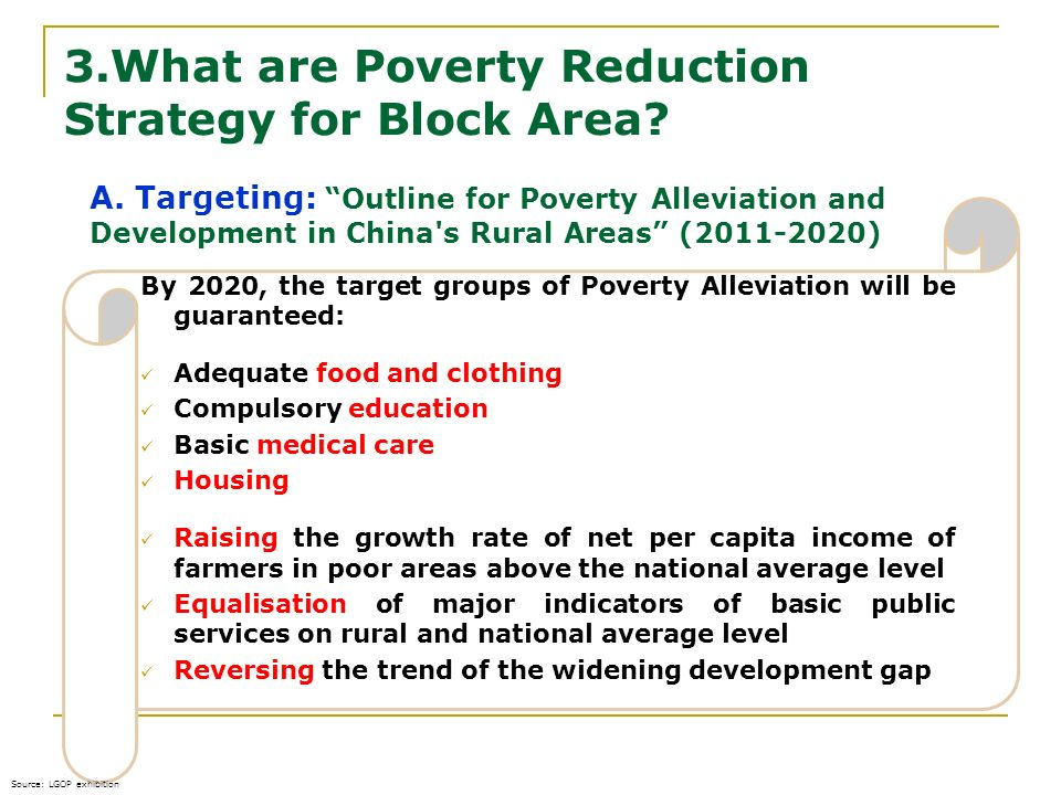 3.What are Poverty Reduction Strategy for Block Area? 16.02.2014 By 2020, the target groups of Poverty Alleviation will be guaranteed: Adequate food a