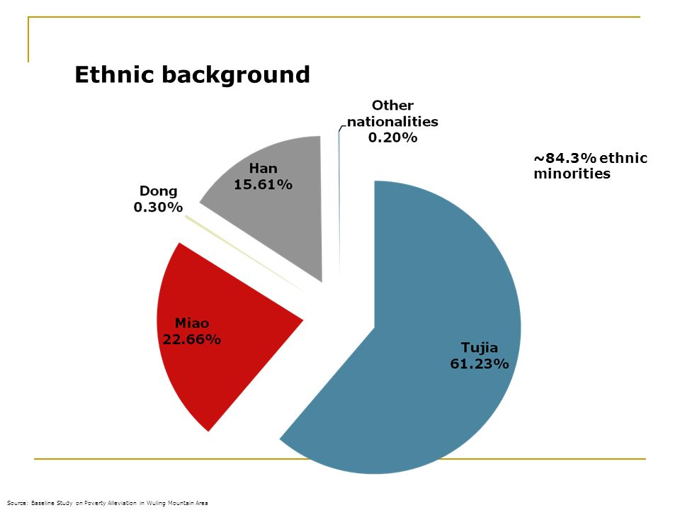16.02.2014 Ethnic background Source: Baseline Study on Poverty Alleviation in Wuling Mountain Area ~84.3% ethnic minorities