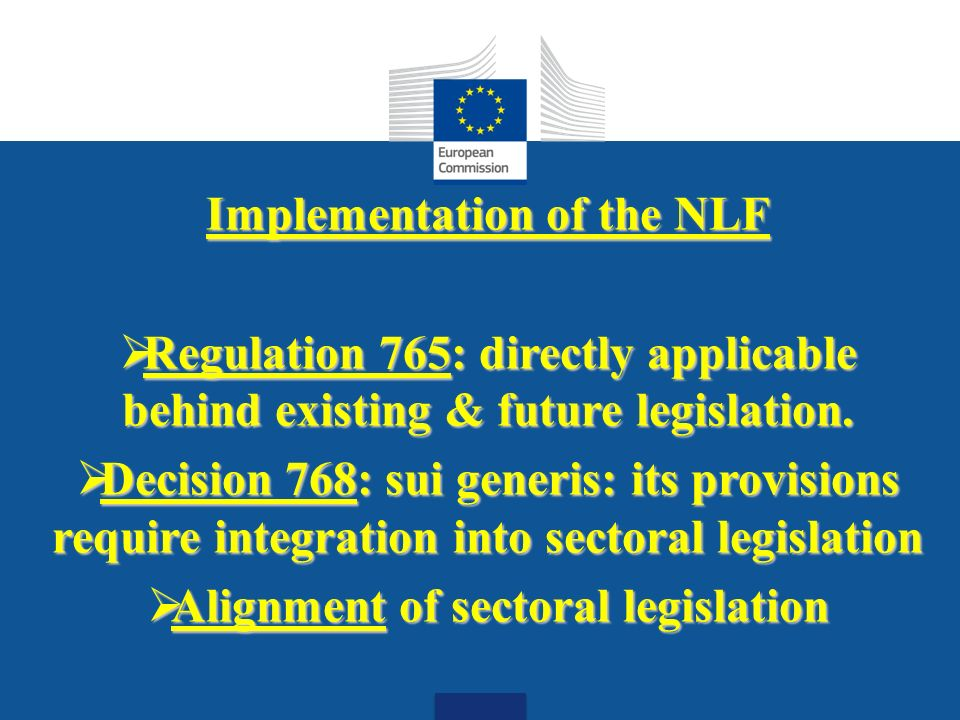 Date: in 12 pts Implementation of the NLF Regulation 765: directly applicable behind existing & future legislation.