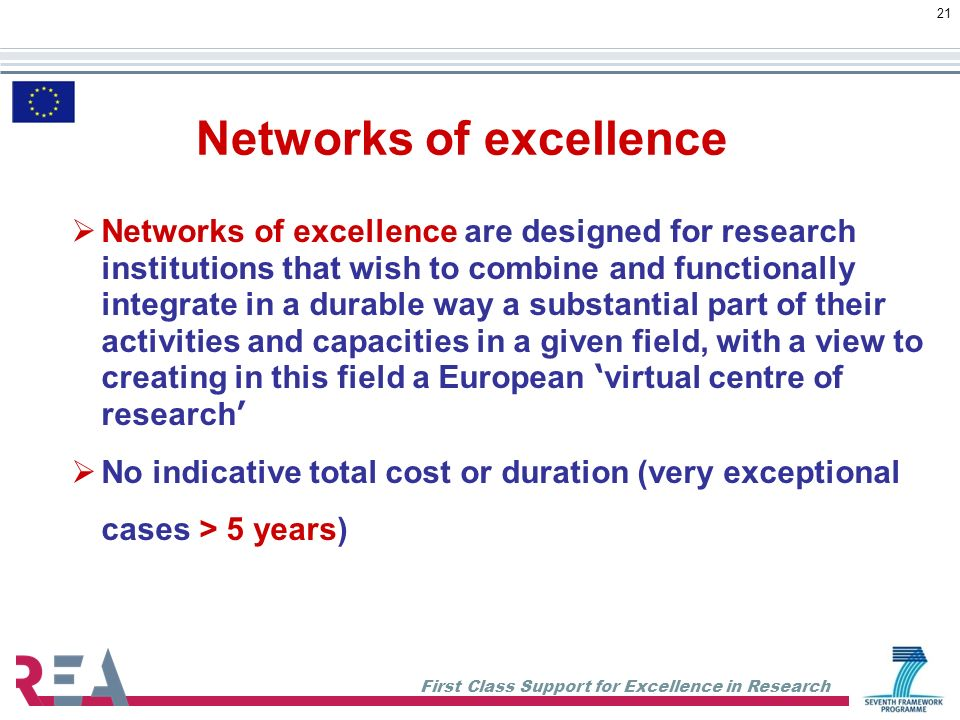 First Class Support for Excellence in Research 21 Networks of excellence Networks of excellence are designed for research institutions that wish to combine and functionally integrate in a durable way a substantial part of their activities and capacities in a given field, with a view to creating in this field a European virtual centre of research No indicative total cost or duration (very exceptional cases > 5 years)