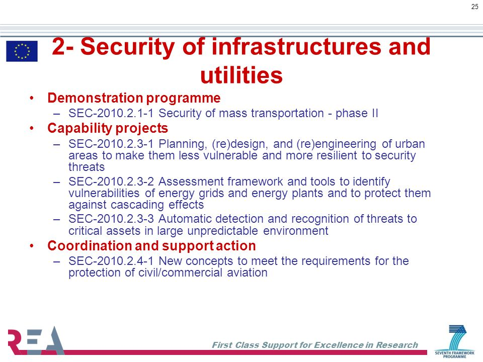 First Class Support for Excellence in Research 25 2- Security of infrastructures and utilities Demonstration programme –SEC-2010.2.1-1 Security of mass transportation - phase II Capability projects –SEC-2010.2.3-1 Planning, (re)design, and (re)engineering of urban areas to make them less vulnerable and more resilient to security threats –SEC-2010.2.3-2 Assessment framework and tools to identify vulnerabilities of energy grids and energy plants and to protect them against cascading effects –SEC-2010.2.3-3 Automatic detection and recognition of threats to critical assets in large unpredictable environment Coordination and support action –SEC-2010.2.4-1 New concepts to meet the requirements for the protection of civil/commercial aviation