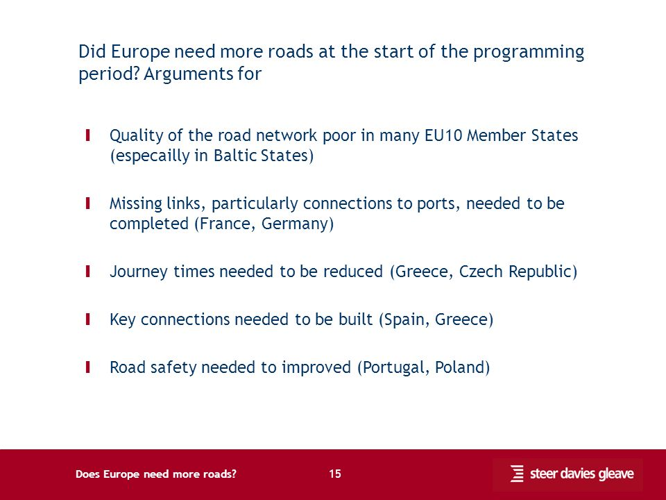 Does Europe need more roads. 15 Did Europe need more roads at the start of the programming period.