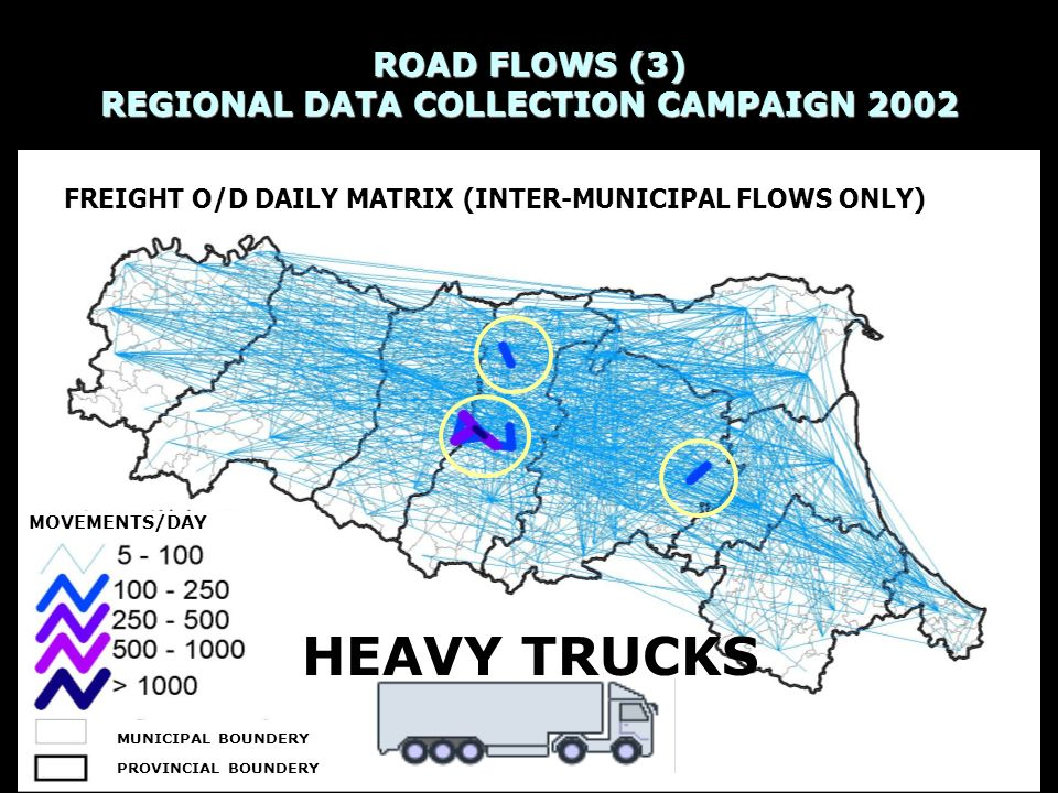 ROAD FLOWS (3) REGIONAL DATA COLLECTION CAMPAIGN 2002 Source: Regione Emilia-Romagna, Transport Planning and Logistics Department, 2003 MOVEMENTS/DAY