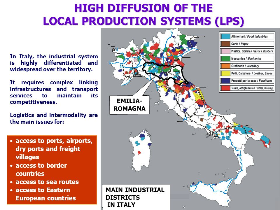 In Italy, the industrial system is highly differentiated and widespread over the territory. It requires complex linking infrastructures and transport