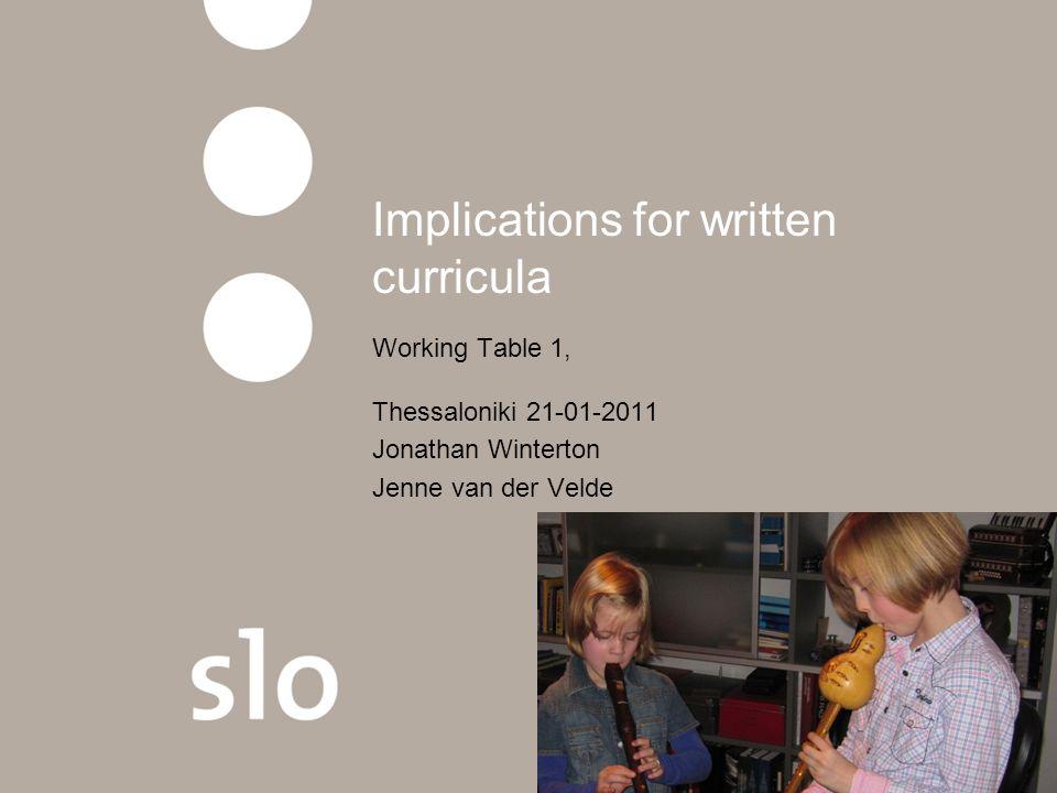 Implications for written curricula Working Table 1, Thessaloniki 21-01-2011 Jonathan Winterton Jenne van der Velde