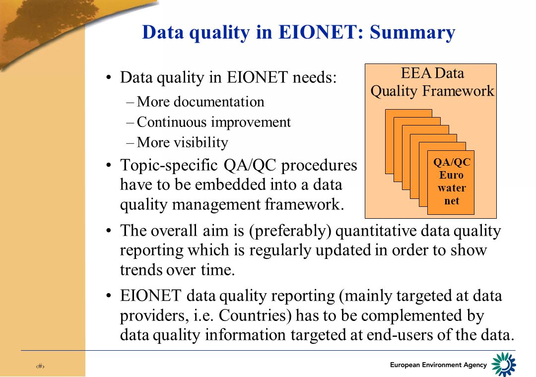 16 Scoring criteria for Eurowaternet data collection 2005 Response to data quality questionnaire