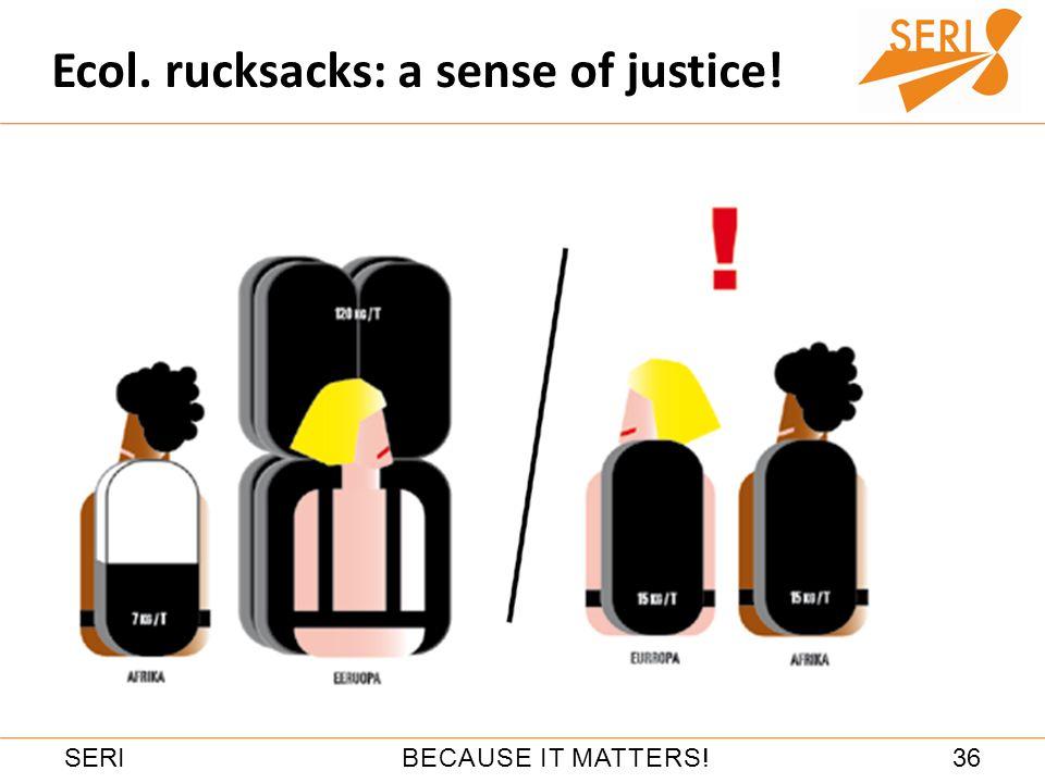 36BECAUSE IT MATTERS!SERI Ecol. rucksacks: a sense of justice!