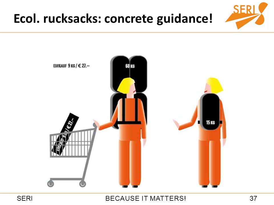 37BECAUSE IT MATTERS!SERI Ecol. rucksacks: concrete guidance!