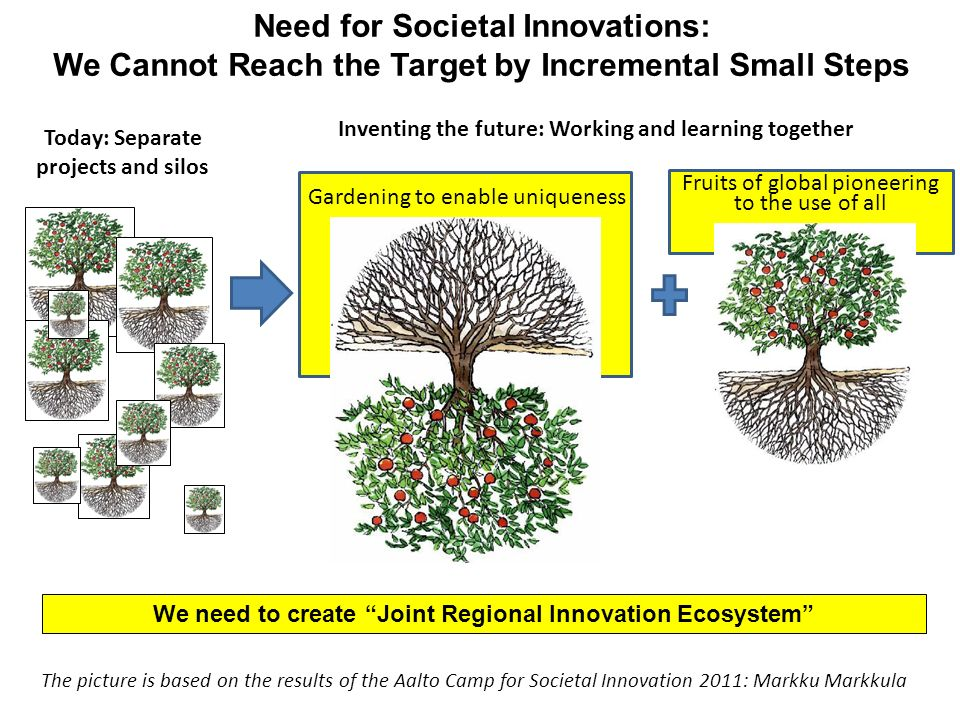 Need for Societal Innovations: We Cannot Reach the Target by Incremental Small Steps We need to create Joint Regional Innovation Ecosystem Inventing the future: Working and learning together Fruits of global pioneering to the use of all Today: Separate projects and silos Gardening to enable uniqueness The picture is based on the results of the Aalto Camp for Societal Innovation 2011: Markku Markkula