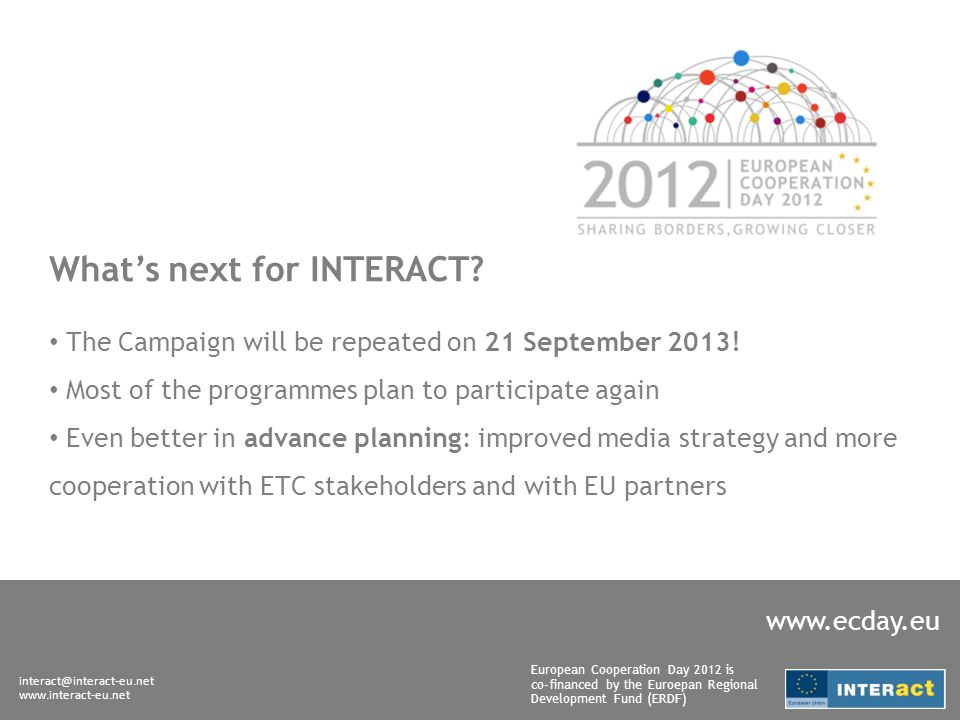 interact@interact-eu.net www.interact-eu.net European Cooperation Day 2012 is co-financed by the Euroepan Regional Development Fund (ERDF) www.ecday.eu Whats next for INTERACT.