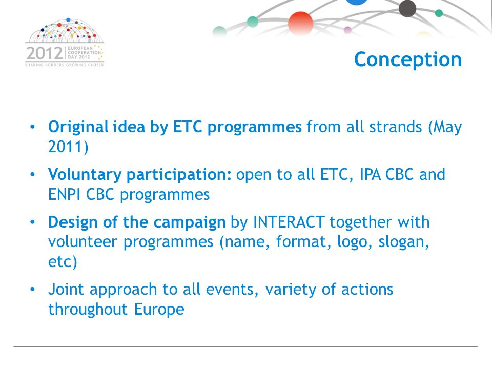 Conception Original idea by ETC programmes from all strands (May 2011) Voluntary participation: open to all ETC, IPA CBC and ENPI CBC programmes Design of the campaign by INTERACT together with volunteer programmes (name, format, logo, slogan, etc) Joint approach to all events, variety of actions throughout Europe