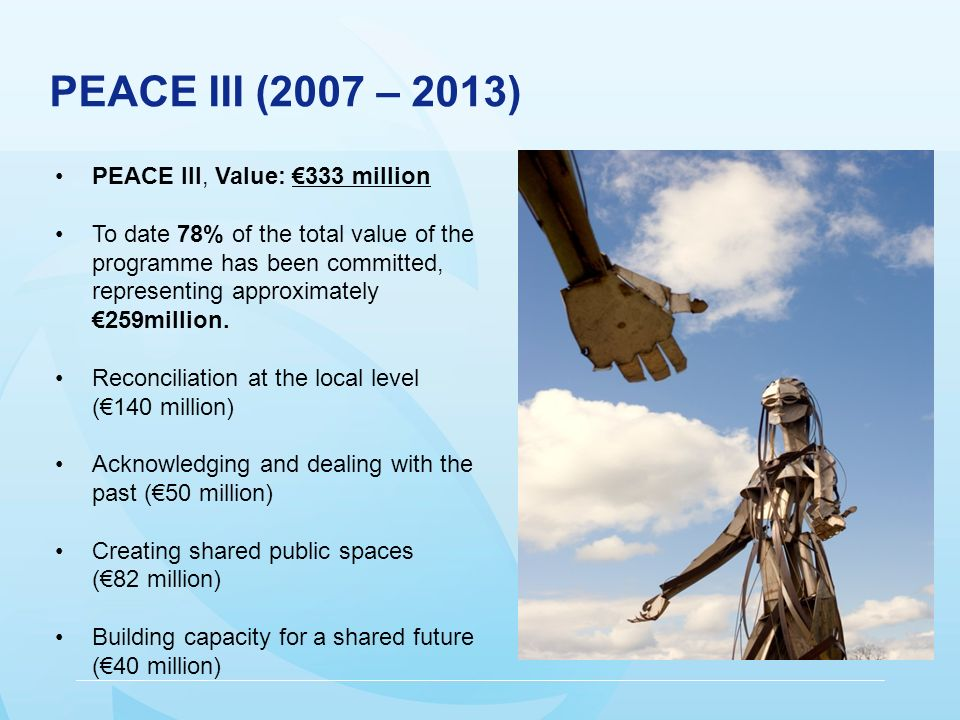 PEACE III (2007 – 2013) PEACE III, Value: 333 million To date 78% of the total value of the programme has been committed, representing approximately 259million.