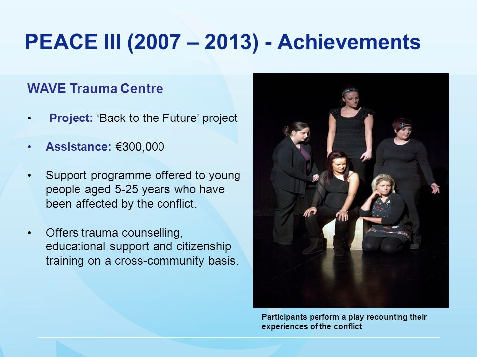 PEACE III (2007 – 2013) - Achievements WAVE Trauma Centre Project: Back to the Future project Assistance: 300,000 Support programme offered to young people aged 5-25 years who have been affected by the conflict.
