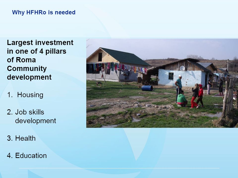 Why HFHRo is needed Largest investment in one of 4 pillars of Roma Community development 1.