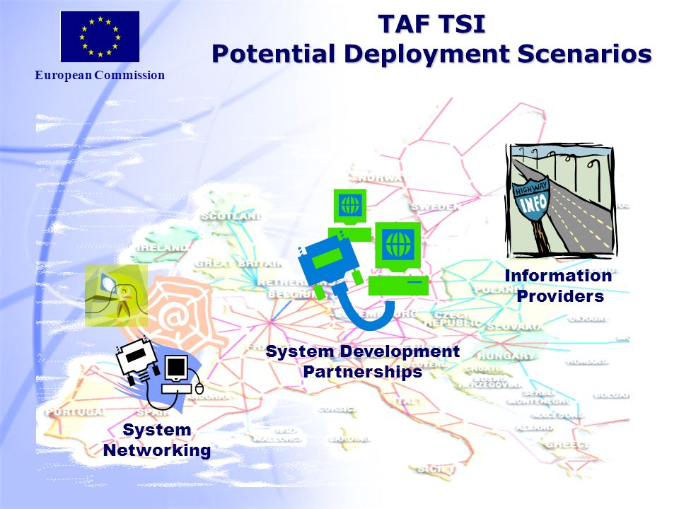 European Commission TAF TSI Potential Deployment Scenarios System Development Partnerships Information Providers System Networking
