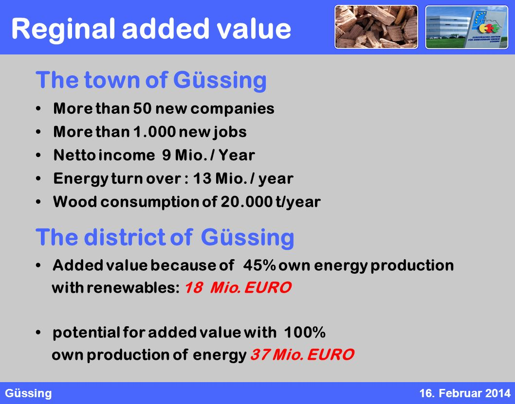 Güssing16. Februar 2014 The town of Güssing More than 50 new companies More than 1.000 new jobs Netto income 9 Mio. / Year Energy turn over : 13 Mio.