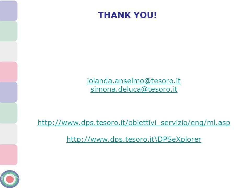 iolanda.anselmo@tesoro.it simona.deluca@tesoro.it http://www.dps.tesoro.it/obiettivi_servizio/eng/ml.asp http://www.dps.tesoro.it\DPSeXplorer THANK YO