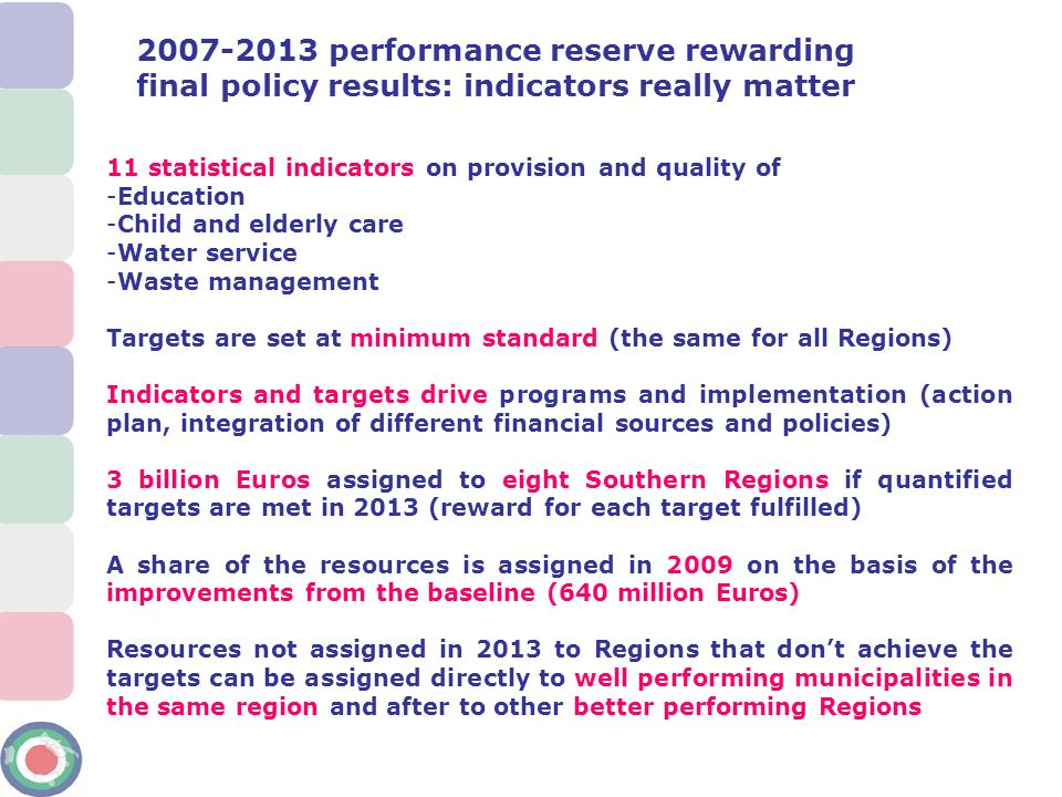 2007-2013 performance reserve rewarding final policy results: indicators really matter 11 statistical indicators on provision and quality of -Educatio