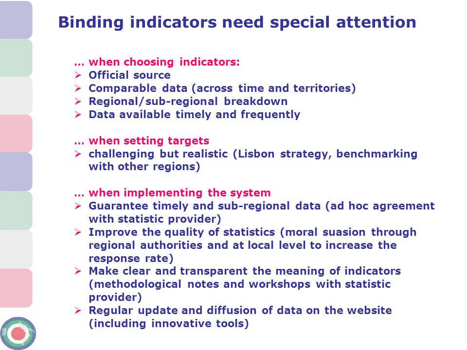 … when choosing indicators: Official source Comparable data (across time and territories) Regional/sub-regional breakdown Data available timely and fr