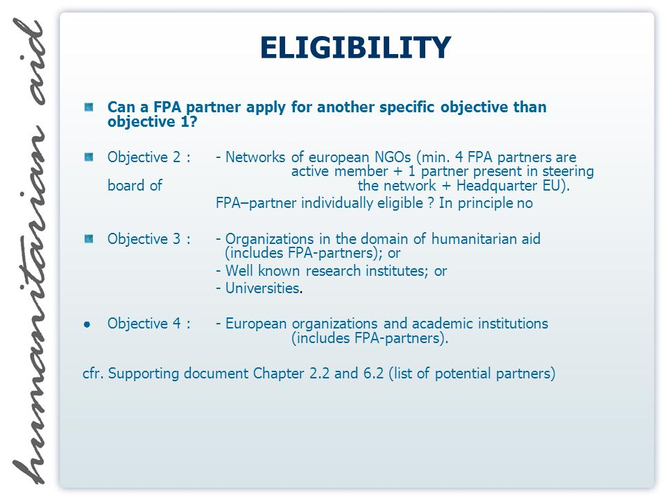 ELIGIBILITY Can a FPA partner apply for another specific objective than objective 1.