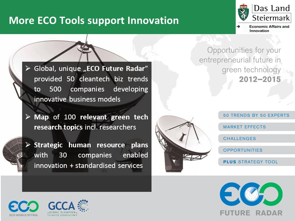 More ECO Tools support Innovation Global, unique ECO Future Radar provided 50 cleantech biz trends to 500 companies developing innovative business models Map of 100 relevant green tech research topics incl.