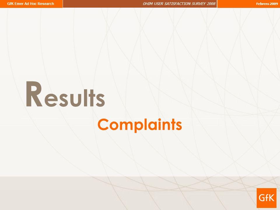 GfK Emer Ad Hoc Research OHIM USER SATISFACTION SURVEY 2008 Febrero 2009 R esults Complaints