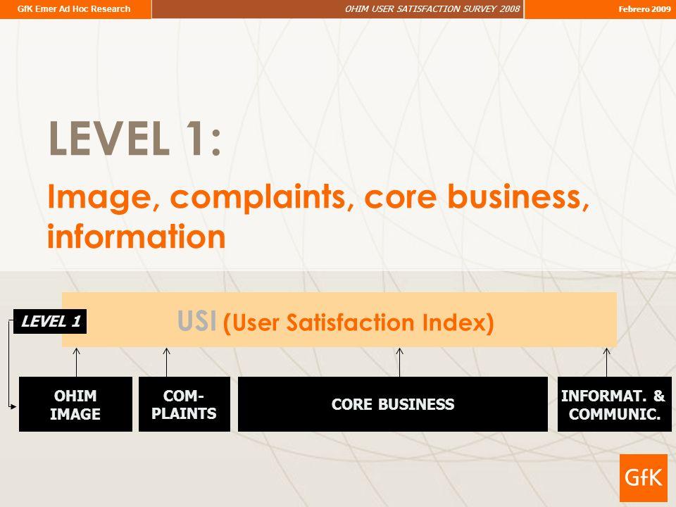 GfK Emer Ad Hoc Research OHIM USER SATISFACTION SURVEY 2008 Febrero 2009 LEVEL 1: Image, complaints, core business, information USI (User Satisfaction Index) OHIM IMAGE INFORMAT.