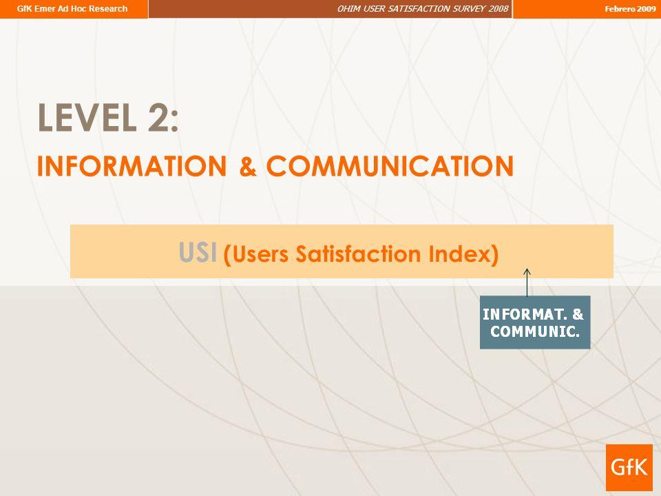 GfK Emer Ad Hoc Research OHIM USER SATISFACTION SURVEY 2008 Febrero 2009 LEVEL 2: INFORMATION & COMMUNICATION USI (Users Satisfaction Index)