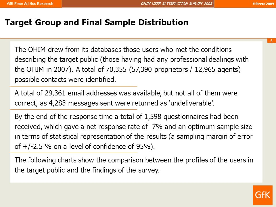 GfK Emer Ad Hoc Research OHIM USER SATISFACTION SURVEY 2008 Febrero 2009 6 Target Group and Final Sample Distribution The OHIM drew from its databases those users who met the conditions describing the target public (those having had any professional dealings with the OHIM in 2007).