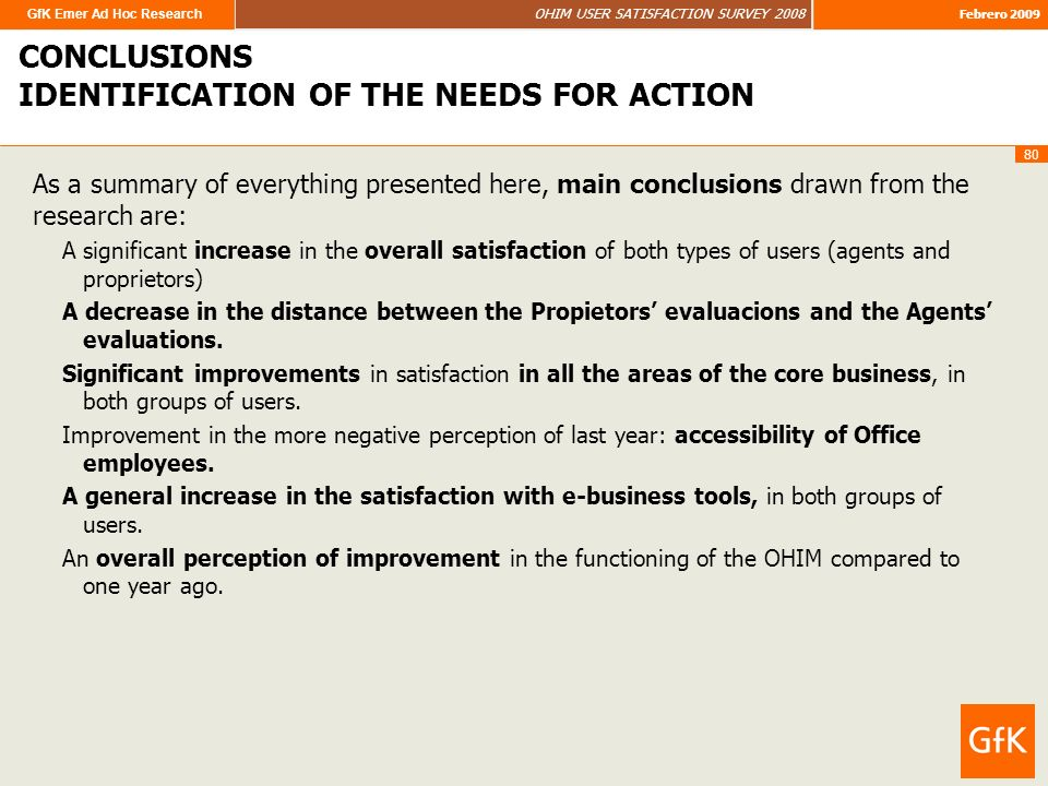 GfK Emer Ad Hoc Research OHIM USER SATISFACTION SURVEY 2008 Febrero 2009 80 CONCLUSIONS IDENTIFICATION OF THE NEEDS FOR ACTION As a summary of everything presented here, main conclusions drawn from the research are: A significant increase in the overall satisfaction of both types of users (agents and proprietors) A decrease in the distance between the Propietors evaluacions and the Agents evaluations.