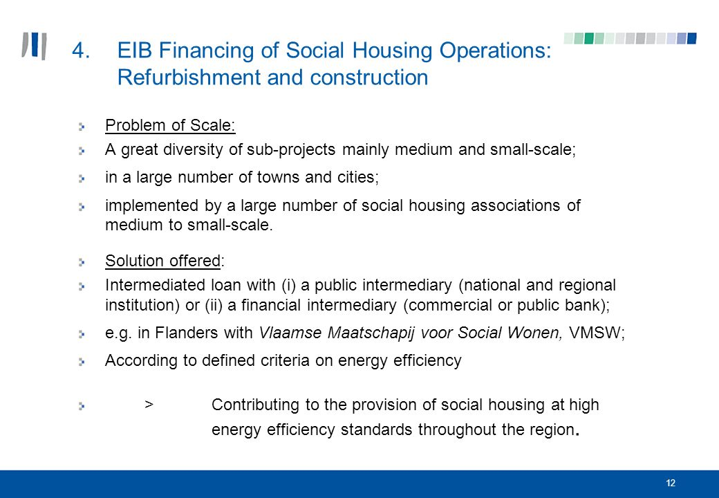 12 4.EIB Financing of Social Housing Operations: Refurbishment and construction Problem of Scale: A great diversity of sub-projects mainly medium and small-scale; in a large number of towns and cities; implemented by a large number of social housing associations of medium to small-scale.