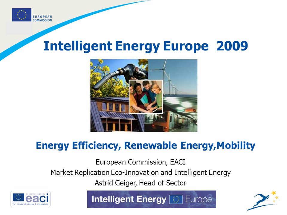 1 Intelligent Energy Europe 2009 European Commission, EACI Market Replication Eco-Innovation and Intelligent Energy Astrid Geiger, Head of Sector Energy Efficiency, Renewable Energy,Mobility