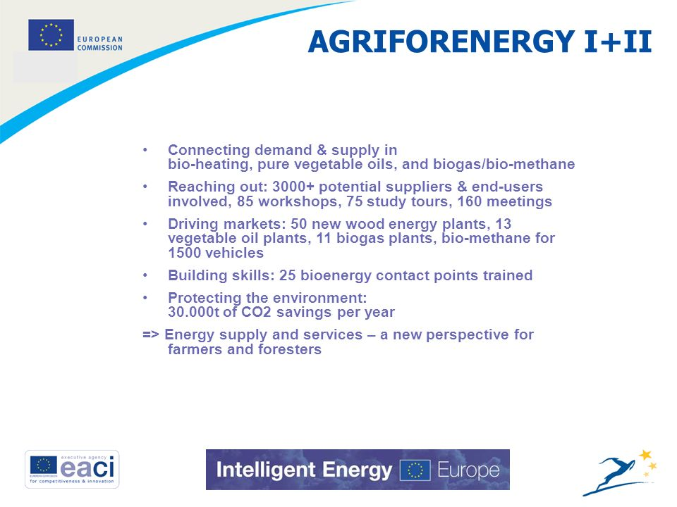 9 AGRIFORENERGY I+II Connecting demand & supply in bio-heating, pure vegetable oils, and biogas/bio-methane Reaching out: 3000+ potential suppliers & end-users involved, 85 workshops, 75 study tours, 160 meetings Driving markets: 50 new wood energy plants, 13 vegetable oil plants, 11 biogas plants, bio-methane for 1500 vehicles Building skills: 25 bioenergy contact points trained Protecting the environment: 30.000t of CO2 savings per year => Energy supply and services – a new perspective for farmers and foresters