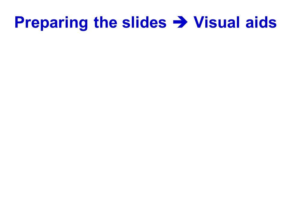 Preparing the slides Visual aids