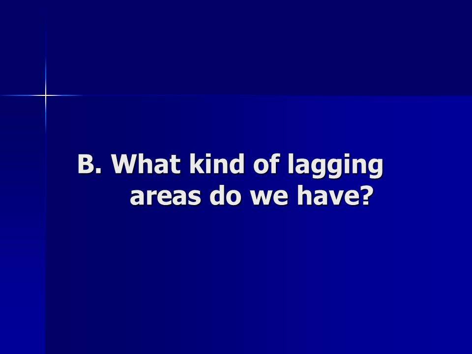 B. What kind of lagging areas do we have