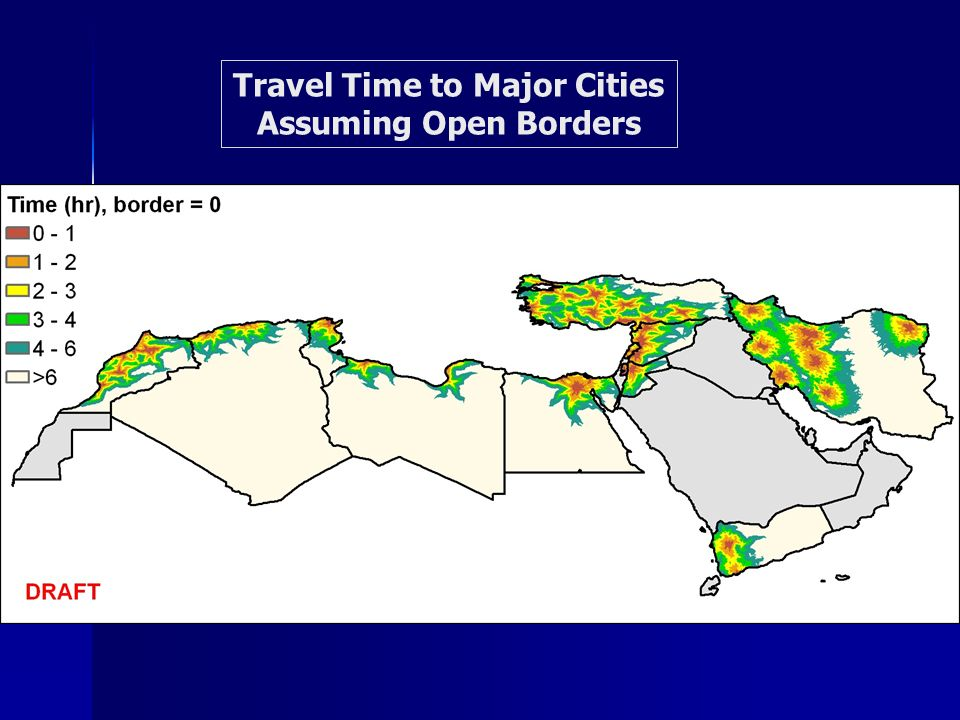 Travel Time to Major Cities Assuming Open Borders