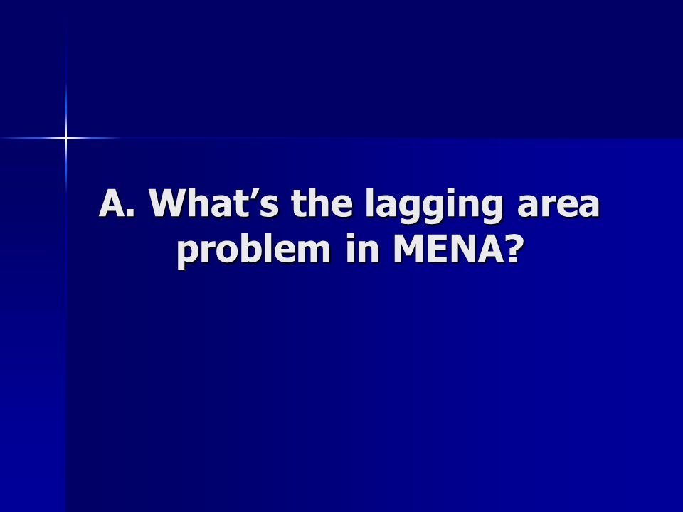 A. Whats the lagging area problem in MENA