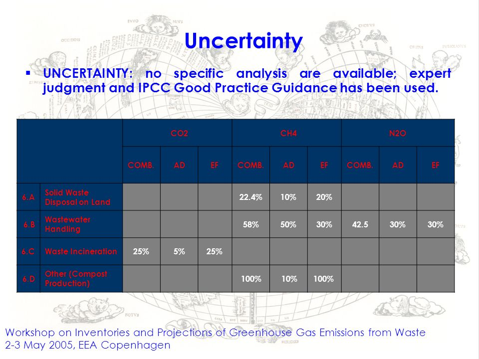 Uncertainty UNCERTAINTY: no specific analysis are available; expert judgment and IPCC Good Practice Guidance has been used.