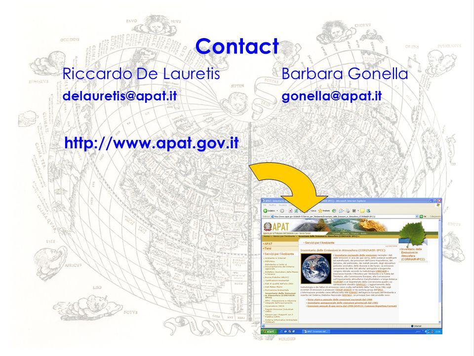 Contact Riccardo De LauretisBarbara Gonella delauretis@apat.itgonella@apat.it http://www.apat.gov.it